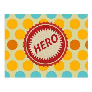 HERO Label on Polka Dot Pattern Postcard