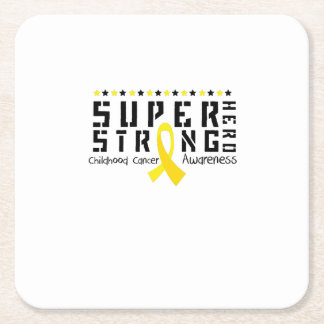 Hero Strong Childhood Cancer Awareness support Square Paper Coaster