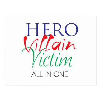 Hero Villain Victim - All in One Postcard