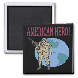 Héroe americano imán cuadrado