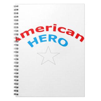 Héroe americano libros de apuntes con espiral