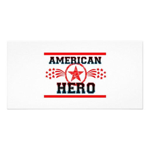 Héroe americano tarjeta fotográfica