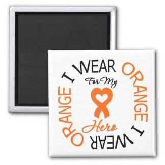 Héroe anaranjado de la cinta de la esclerosis múlt imán cuadrado