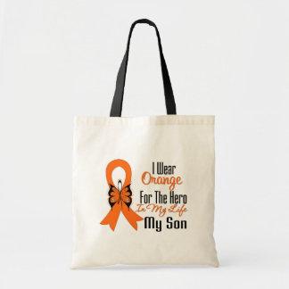 Héroe anaranjado de la cinta de la leucemia mi bolsa tela barata