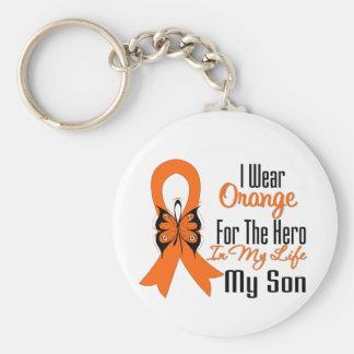 Héroe anaranjado de la cinta de la leucemia mi hij llaveros