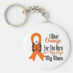 Héroe anaranjado de la cinta de la leucemia mi mam llaveros personalizados