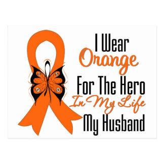 Héroe anaranjado de la cinta de la leucemia mi mar postales