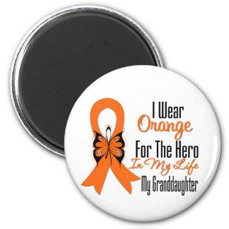 Héroe anaranjado de la cinta de la leucemia mi nie imán redondo 5 cm