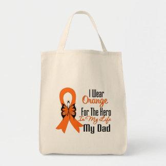 Héroe anaranjado de la cinta de la leucemia mi pap bolsa de mano