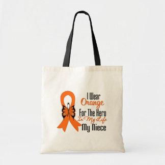 Héroe anaranjado de la cinta de la leucemia mi sob bolsa lienzo