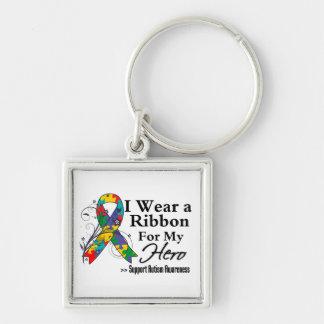 Héroe - cinta del autismo llavero cuadrado plateado