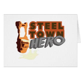 Héroe de acero de la ciudad tarjeta de felicitación