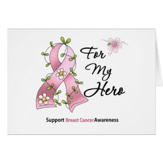 Héroe de la ayuda del cáncer de pecho tarjeta de felicitación