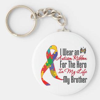 Héroe de la cinta del autismo en mi vida mi Brothe Llaveros Personalizados