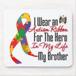 Héroe de la cinta del autismo en mi vida mi Brothe Tapetes De Ratones