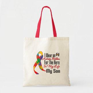 Héroe de la cinta del autismo en mi vida mi hijo bolsa tela barata