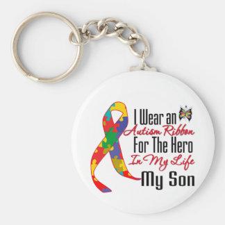 Héroe de la cinta del autismo en mi vida mi hijo llaveros personalizados