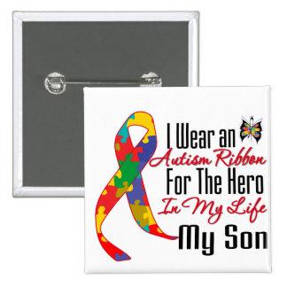 Héroe de la cinta del autismo en mi vida mi hijo pin cuadrada 5 cm