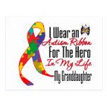 Héroe de la cinta del autismo en mi vida mi nieta postal