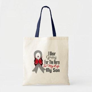 Héroe de la cinta del cáncer de cerebro mi hijo bolsa tela barata