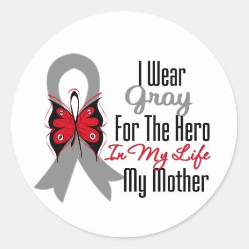 Héroe de la cinta del cáncer de cerebro mi madre pegatinas redondas