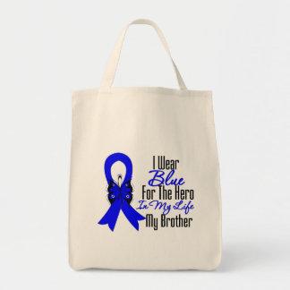 Héroe de la cinta del cáncer de colon mi Brother Bolsa Tela Para La Compra