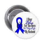 Héroe de la cinta del cáncer de colon mi marido pin