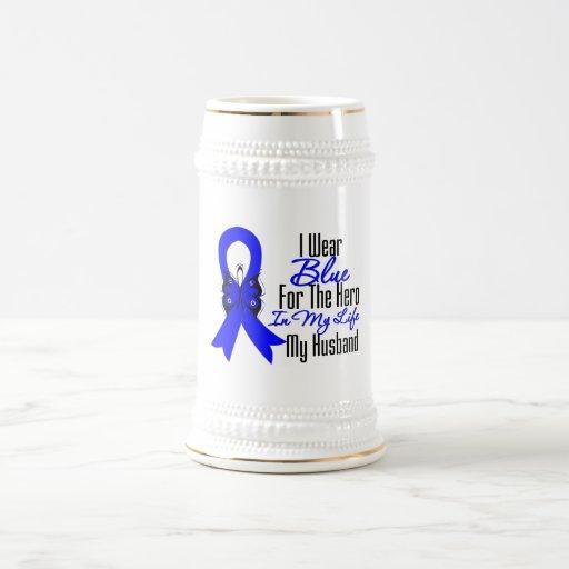 Héroe de la cinta del cáncer de colon mi marido jarra de cerveza