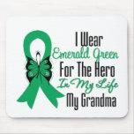 Héroe de la cinta del cáncer de hígado mi abuela tapetes de ratón