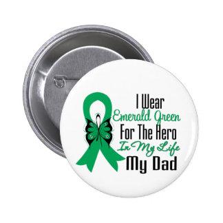 Héroe de la cinta del cáncer de hígado mi papá pin redondo de 2 pulgadas