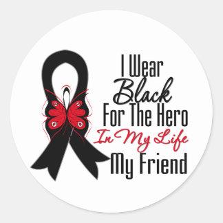 Héroe de la cinta del cáncer de piel mi amigo pegatina redonda