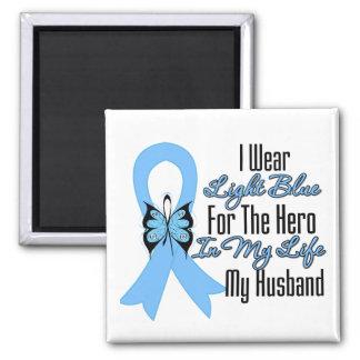 Héroe de la cinta del cáncer de próstata mi marido imán cuadrado