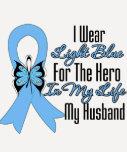Héroe de la cinta del cáncer de próstata mi marido camisetas