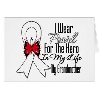 Héroe de la cinta del cáncer de pulmón mi abuela felicitación