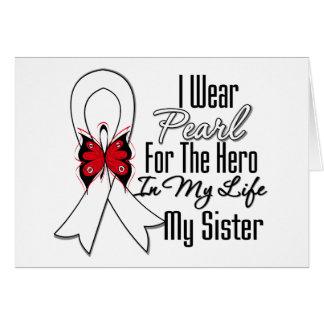 Héroe de la cinta del cáncer de pulmón mi hermana felicitacion