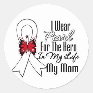 Héroe de la cinta del cáncer de pulmón mi mamá etiqueta redonda