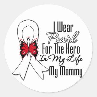 Héroe de la cinta del cáncer de pulmón mi mamá pegatinas