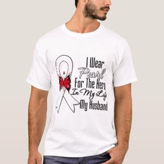 Héroe de la cinta del cáncer de pulmón mi marido playera