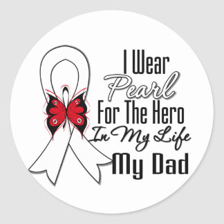 Héroe de la cinta del cáncer de pulmón mi papá pegatina redonda