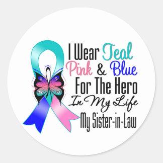 Héroe de la cinta del cáncer de tiroides mi cuñada pegatina redonda