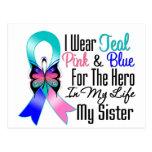 Héroe de la cinta del cáncer de tiroides mi herman postal