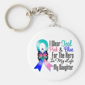 Héroe de la cinta del cáncer de tiroides mi hija llavero redondo tipo pin