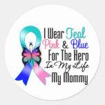Héroe de la cinta del cáncer de tiroides mi mamá pegatinas redondas