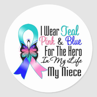 Héroe de la cinta del cáncer de tiroides mi pegatina redonda