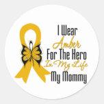 Héroe de la cinta del cáncer del apéndice mi mamá pegatinas redondas