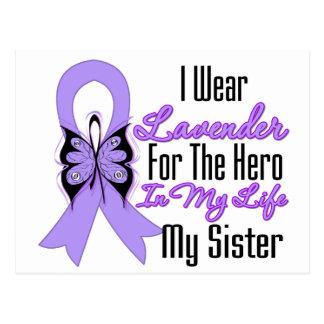 Héroe de la cinta del cáncer en mi vida mi hermana tarjeta postal