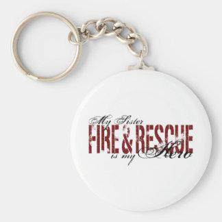 Héroe de la hermana - fuego y rescate llaveros