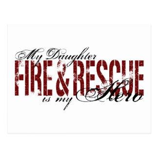 Héroe de la hija - fuego y rescate postal
