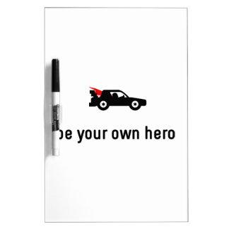 Héroe de las carreras de coches pizarras blancas de calidad