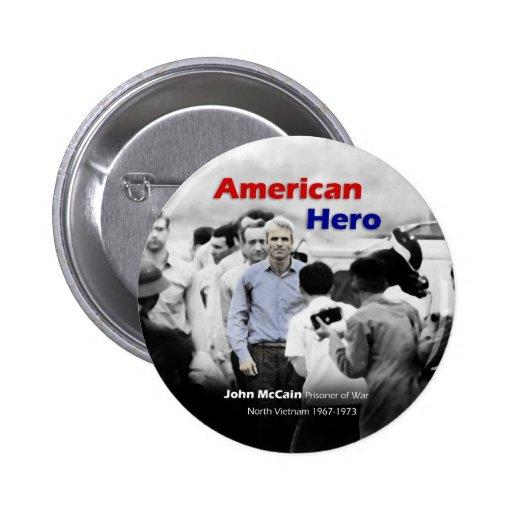 Héroe del americano de John McCain del PRISIONERO  Pin Redondo 5 Cm